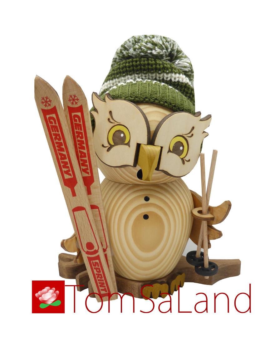 TomSaLand_Raucheule_Skifahrer_Vorderansicht_weisshintergrund_mit_Logo
