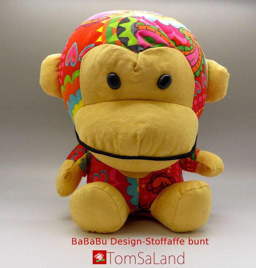 Bababu_Design-Stoffaffe_bunt_Vorderansicht_mit_logo