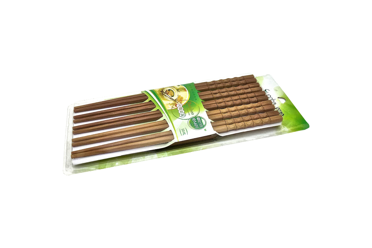 Bamboo Chopstick Set With Wave Form Design