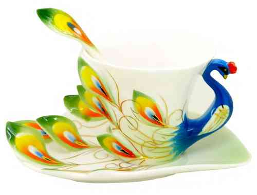 "Porcellain Tea Cup ""blue peacock"" (3 parts)"