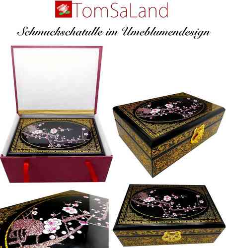 Wooden Jewelery box with plum flower pattern