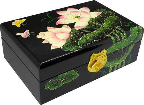 Wooden Jewelery box with lotus flower pattern