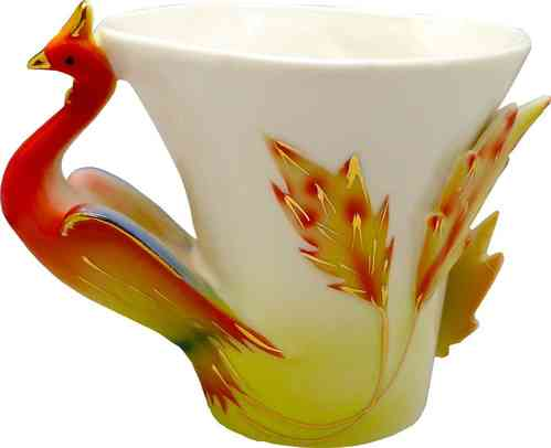 "Porcellain Tea Cup ""red phoenix"" (3 parts)"