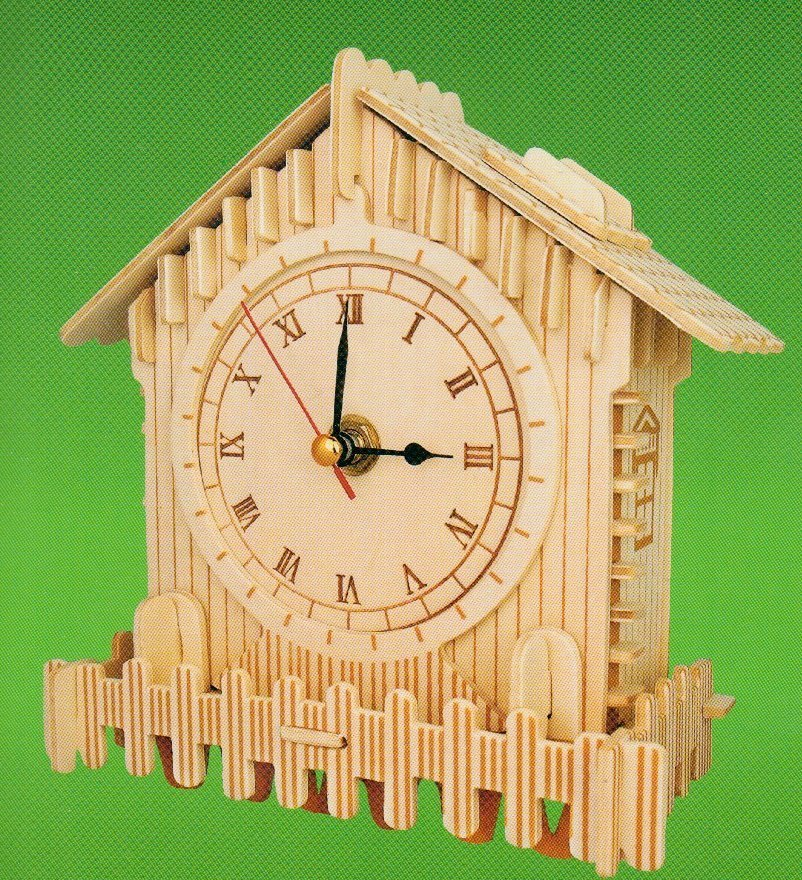 "Classic Clock woodcraft construction kit ""small wood house """