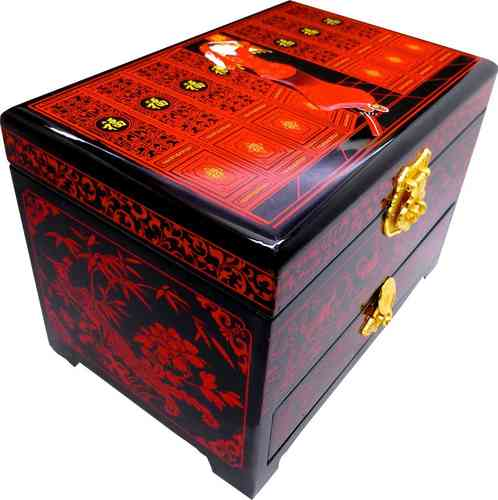 Wooden Jewelery box with traditional chinese bride pattern