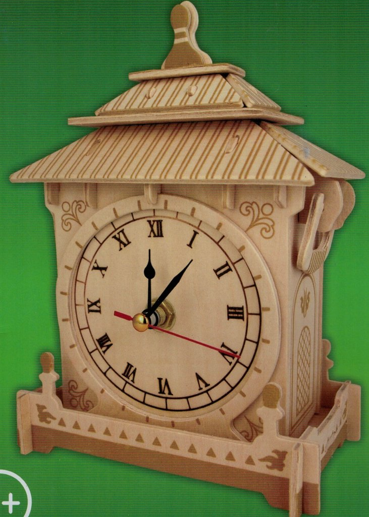 "Classic Clock woodcraft construction kit ""asia small wood house """