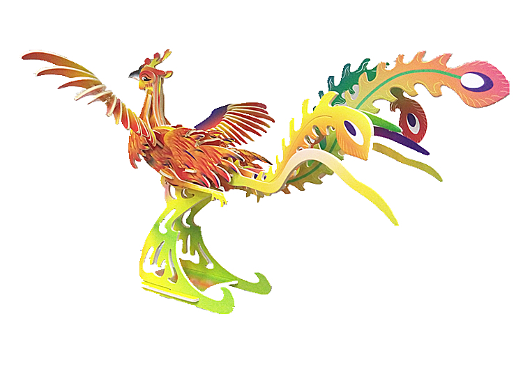 "Classic toy woodcraft construction kit ""Phoenix with color"""
