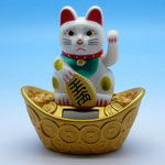 Fortune Cat/Maneki-Neko-Cat Solar drived with sycee