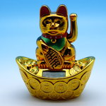 Fortune Cat/Maneki-Neko-Cat gold design Solar drived with sycee