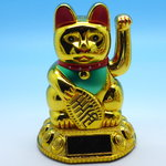 Fortune Cat/Maneki-Neko-Cat gold design Solar drived