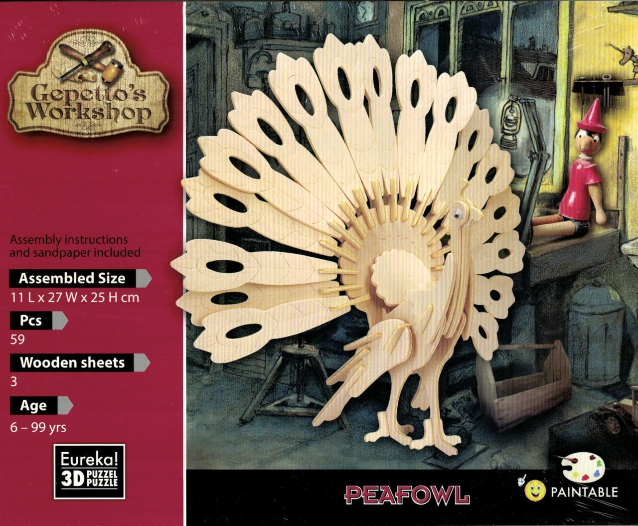 "Gepetto's woodcraft construction kit ""Peafowl"""