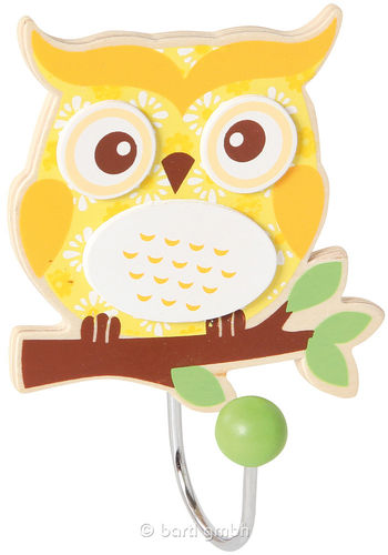 Robe hooks owl, yellow