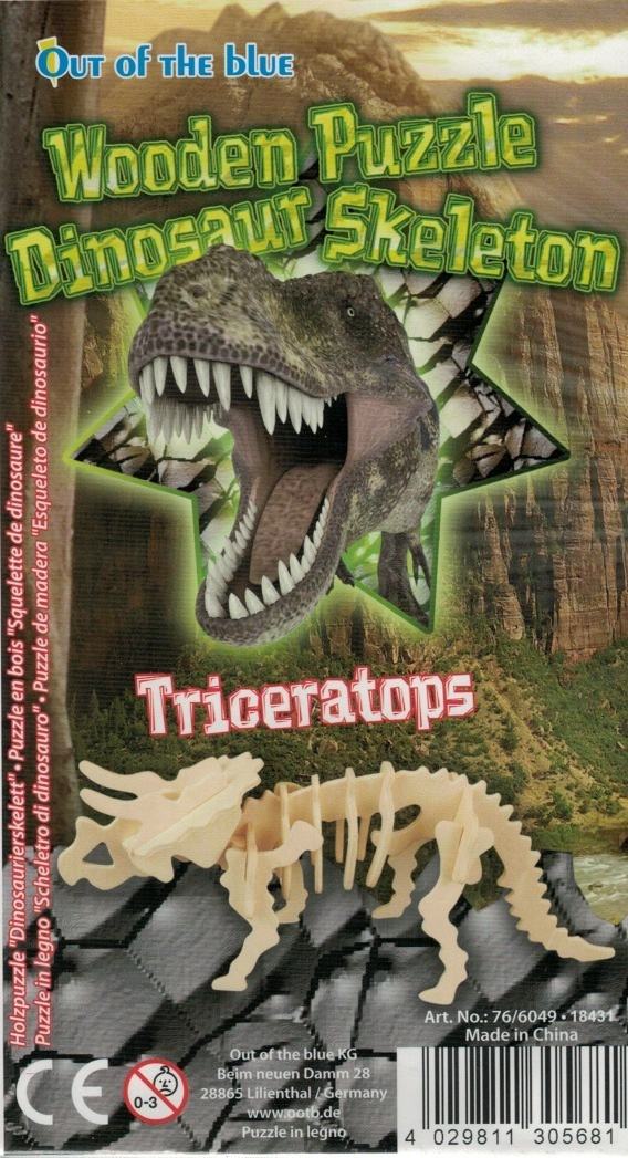 "Classic toy woodcraft construction kit ""Dinosaur Triceratops"""