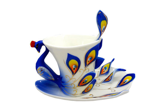 "Porcellain Tea Cup ""blue gold peacock"" (3 parts)"