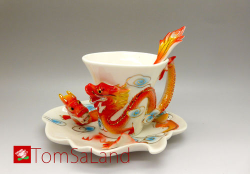 Dragon tea cup with 3 parts (white)
